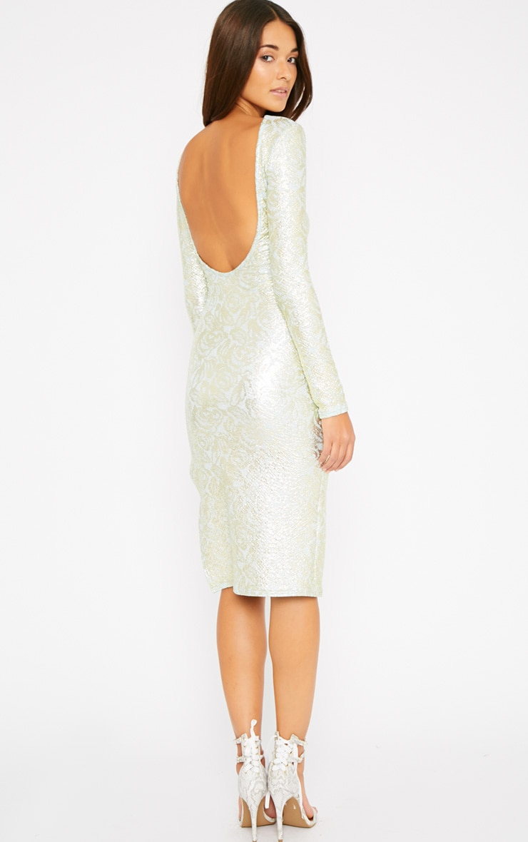 Moxie Mint Gold Foil Split Midi Dress 3