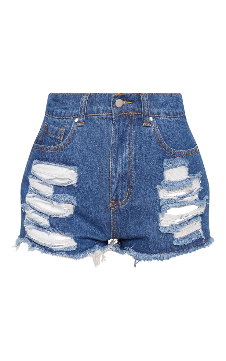 Bright Blue Ripped Denim Hot Pants 3