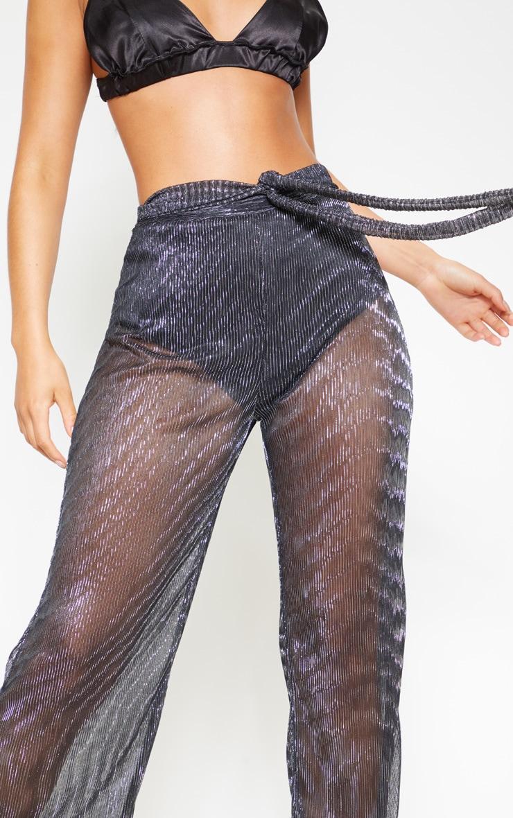 Pantalon ample plissé noir metallisé noué à la taille 5