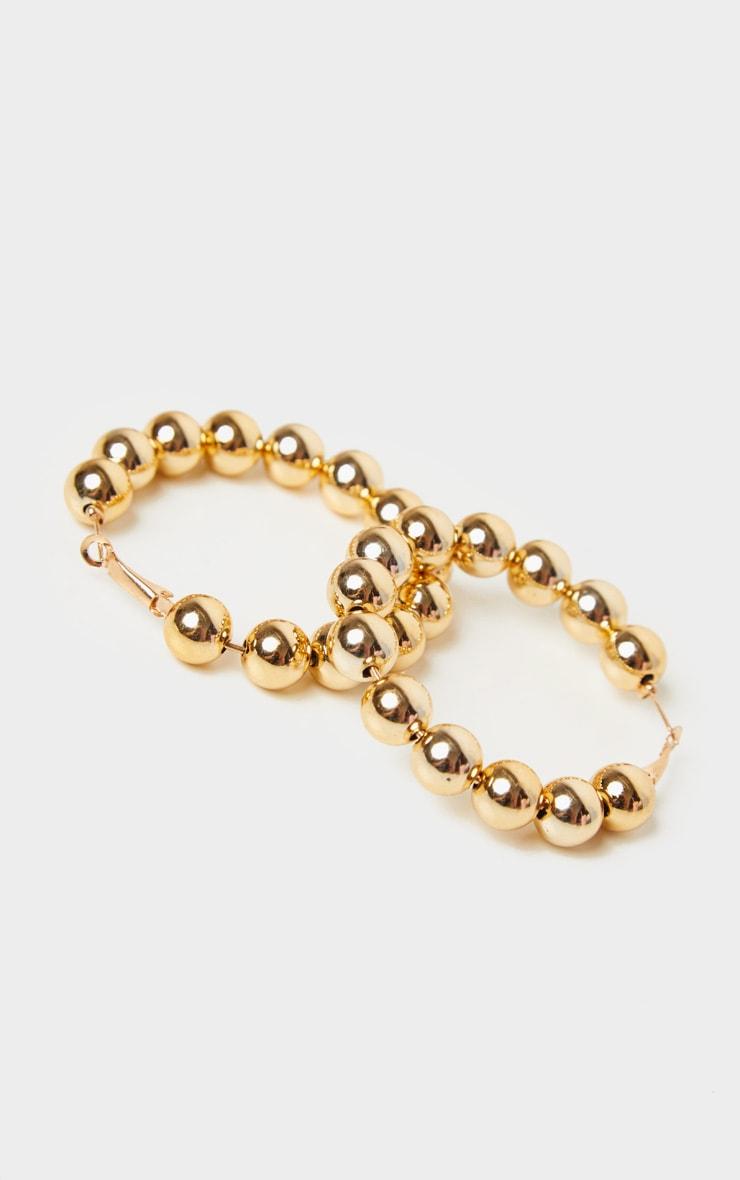 Gold Beaded Hoop Earrings 3