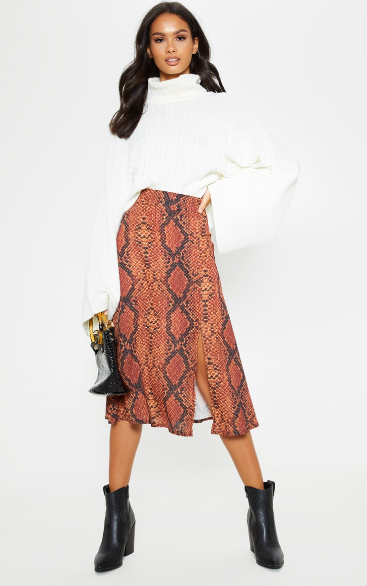 Red Snake Print Floaty Midi Skirt 1