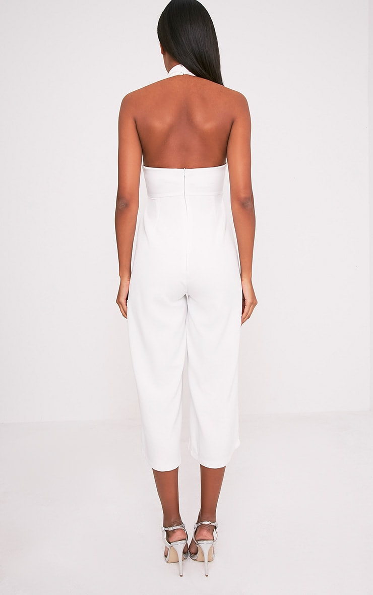 Stephanie White Lace up Cullote Jumpsuit 2