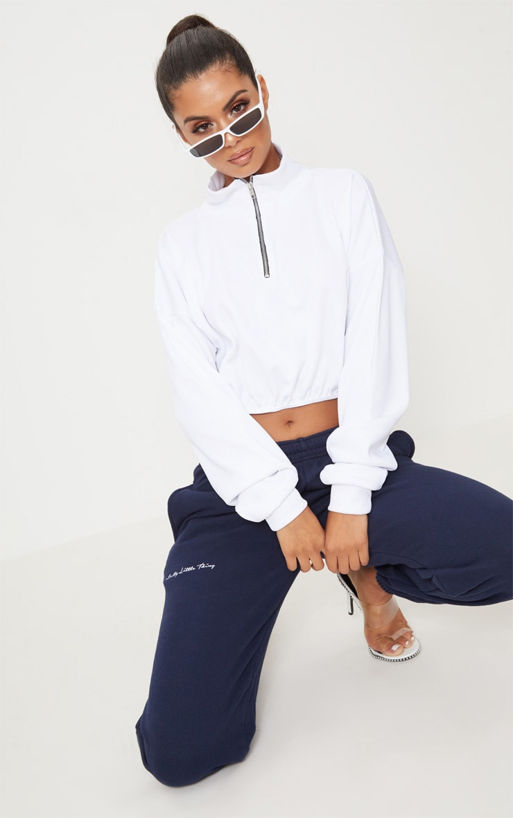 PRETTYLITTLETHING Navy Embroidered Jogger