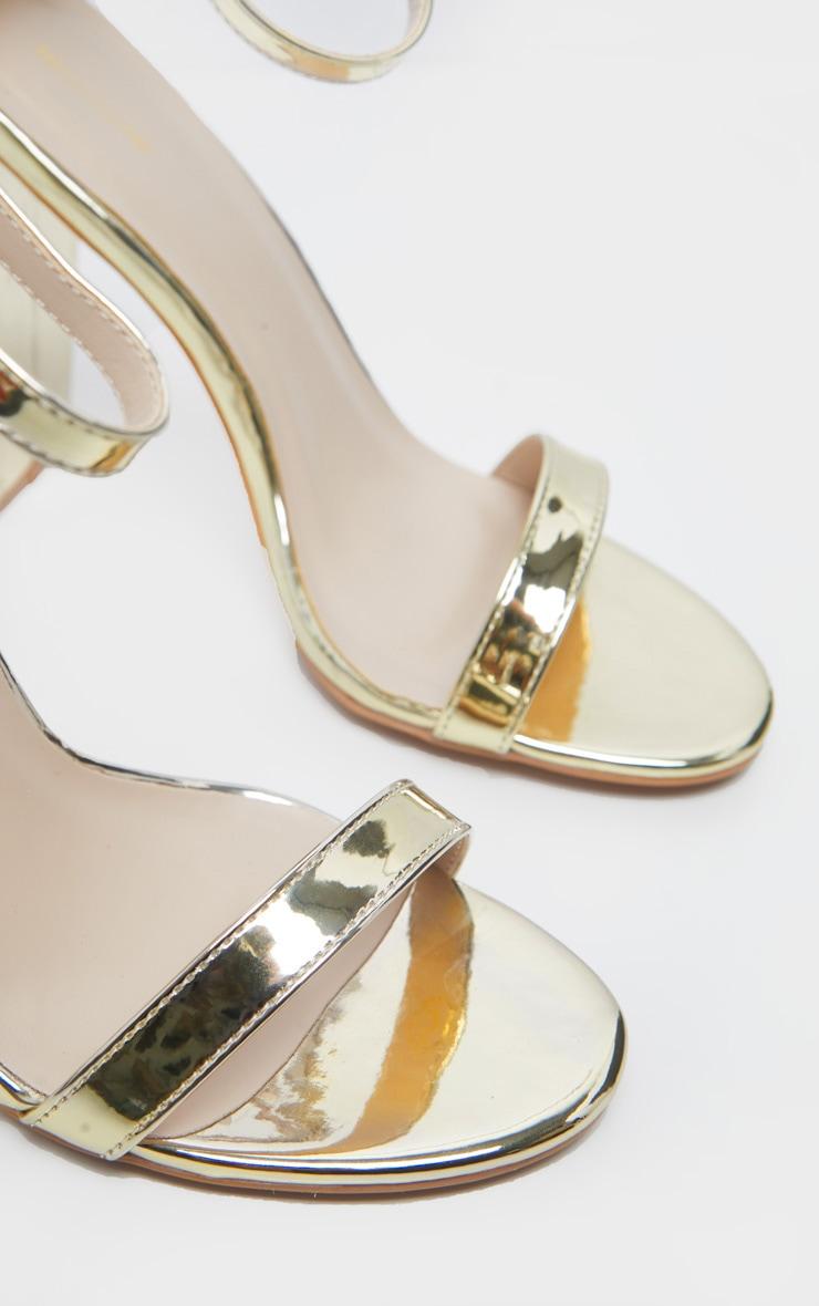 Clover Gold Metallic Strap Heeled Sandals 5