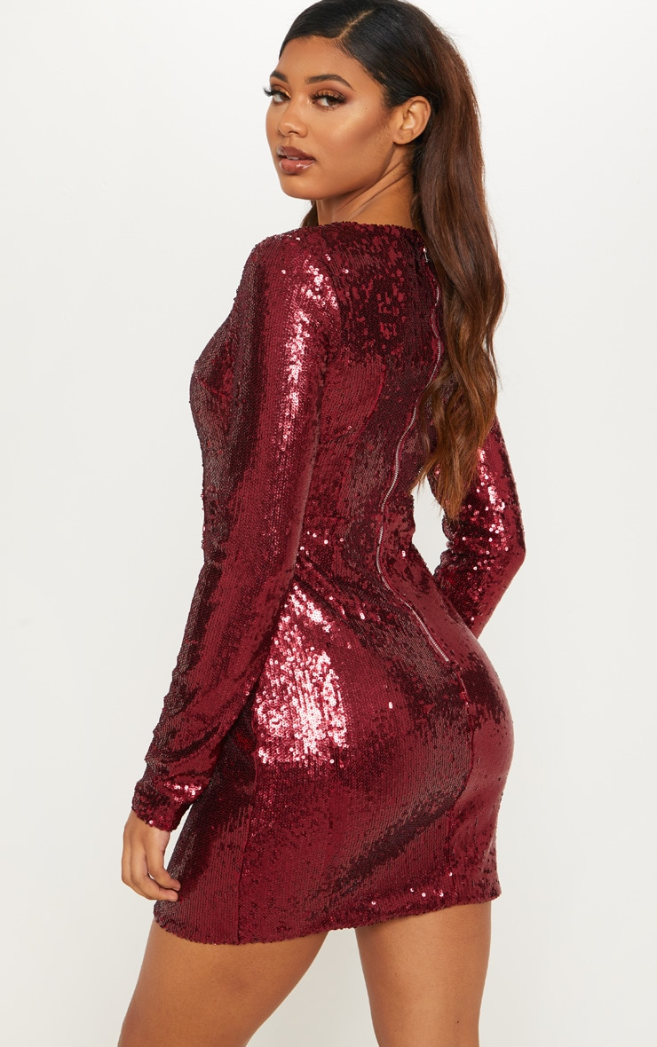 Tall Burgundy Sequin Long Sleeve Bodycon Dress 2