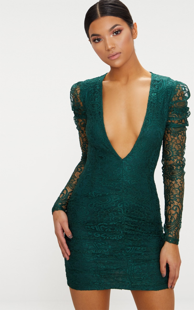 Emerald Green Lace Puff Sleeve Ruched Detail Plunge Bodycon Dress 1