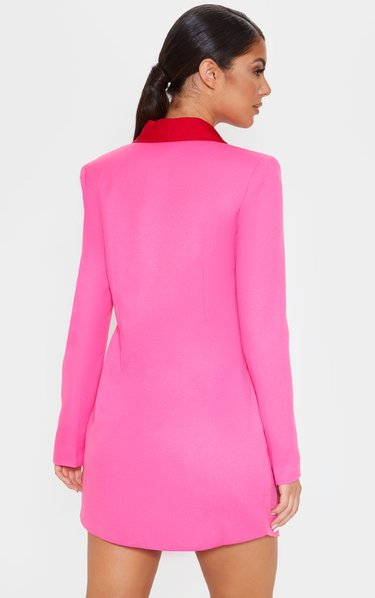 Hot Pink Gold Button Contrast Blazer Dress 2