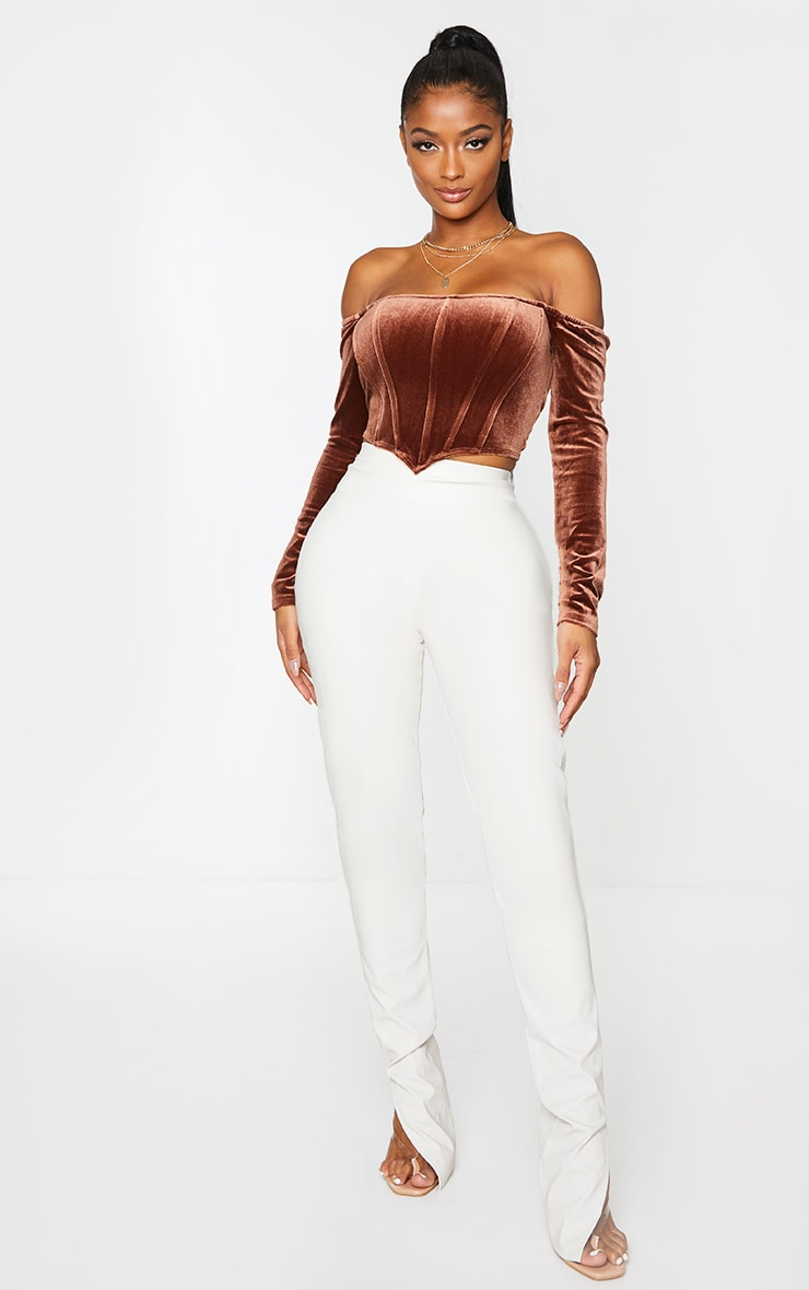 Shape Chocolate Brown Velvet Bardot Long Sleeve Corset 3