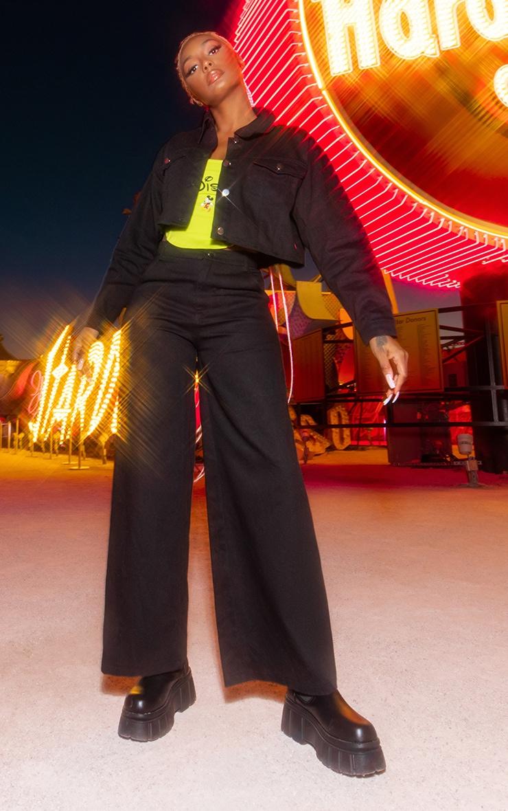 Black Disney Mickey Crop Denim Jacket 3