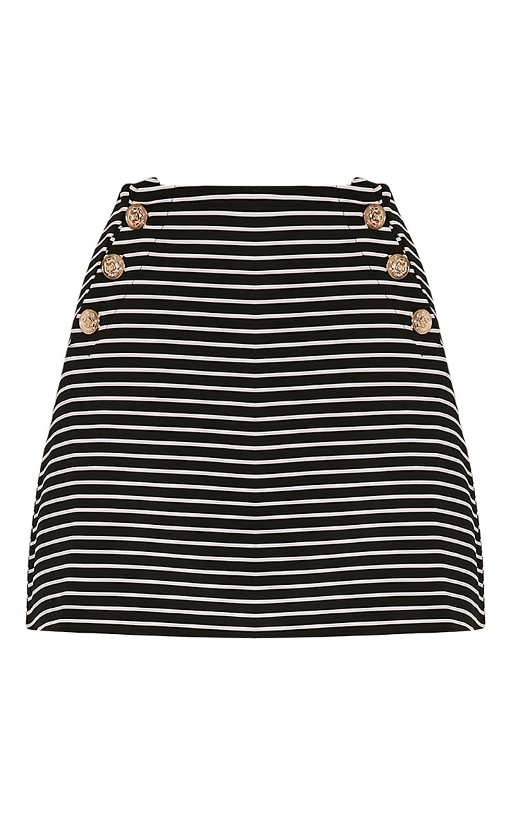 Krystine Black Stripe Button Detail Mini Skirt 3