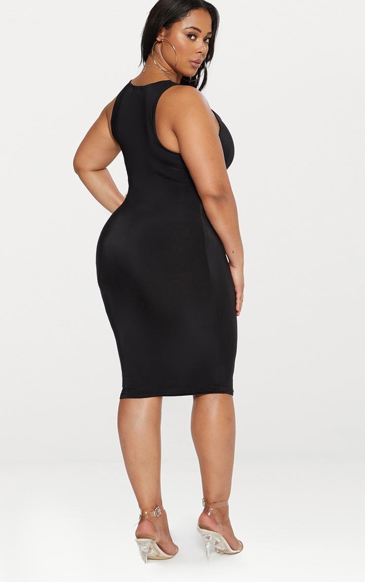 Plus Black Second Skin Slinky Scoop Neck Midi Dress 2