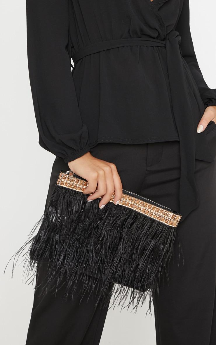 Black Feather Diamante Border Clutch