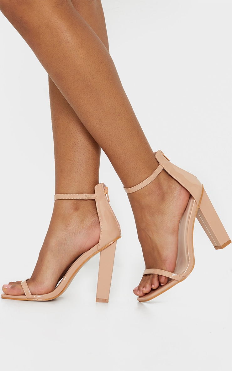 Nude Square Toe Cross Strappy Sandal | Shoes | PrettyLittleThing USA
