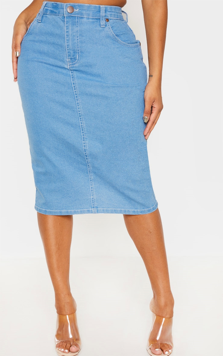 Shape Light Wash Contrast Stitch Denim Midi Skirt 2