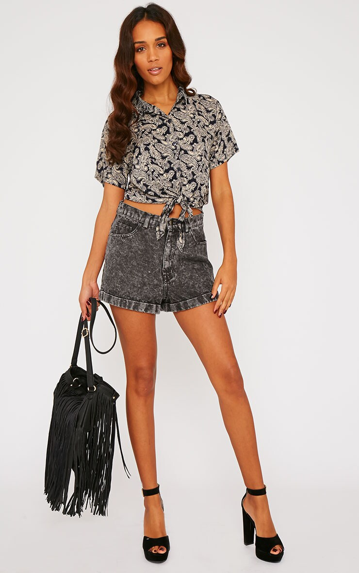 Arizona Black Paisley Tie Front Crop Shirt 3