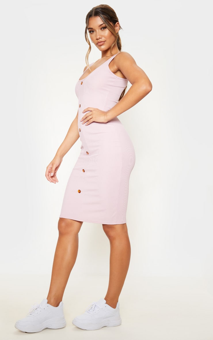 White Ribbed Scoop Tortoise Shell Button Down Bodycon Dress 4