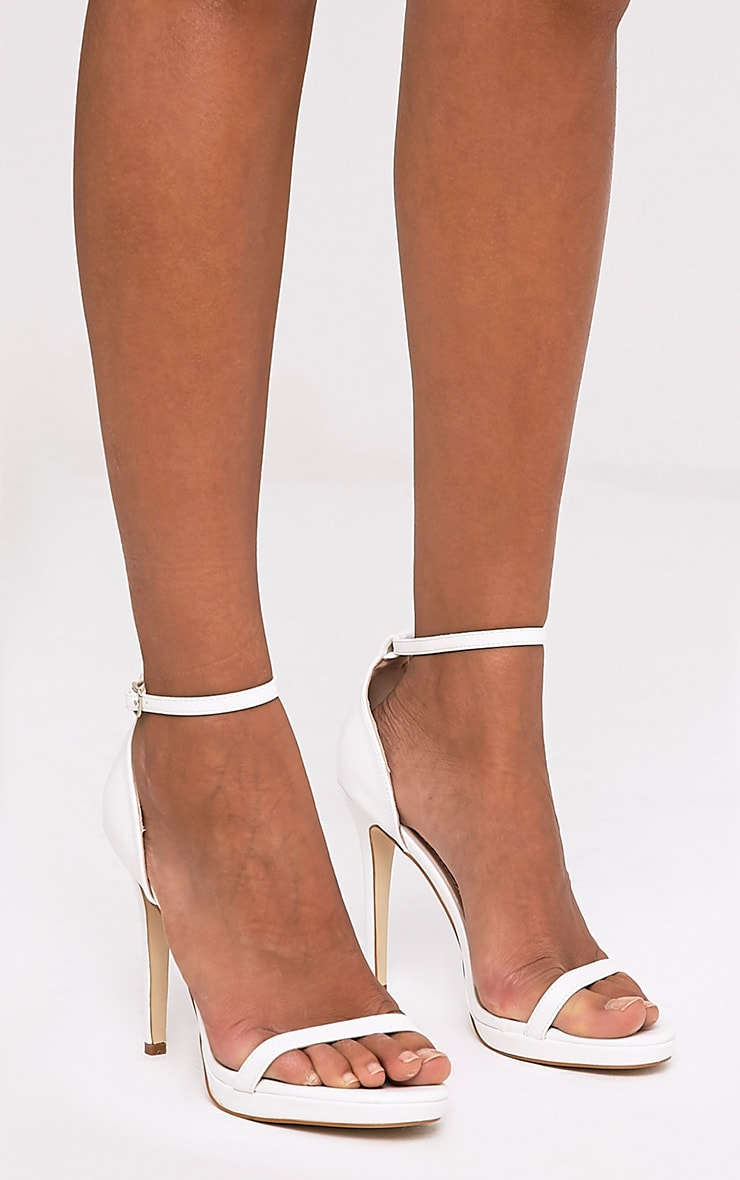 Enna White Single Strap Heeled Sandals 2