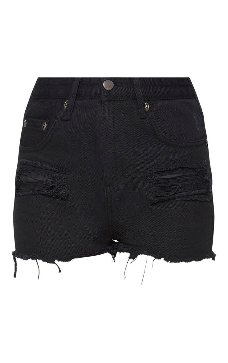 Black Ripped Denim Short 3