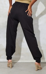 Black Woven Button Velcro Ankle Trousers 3