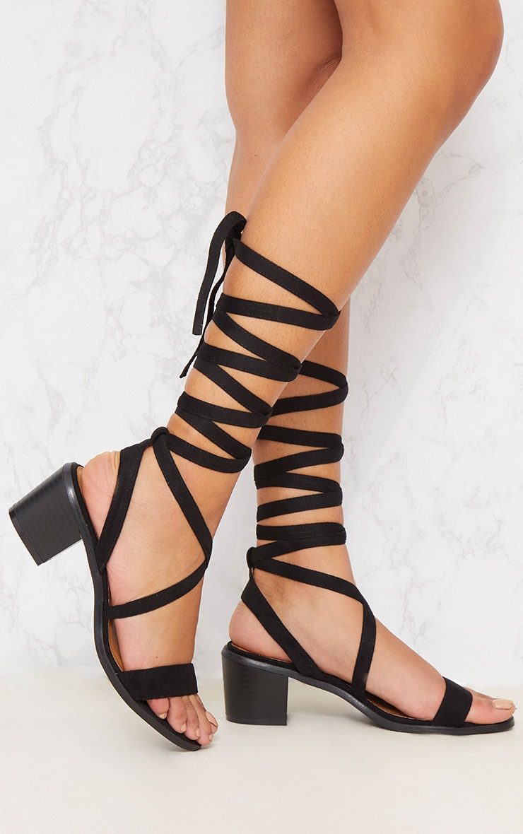 Kallia Black Faux Suede Lace Up Heeled Sandals