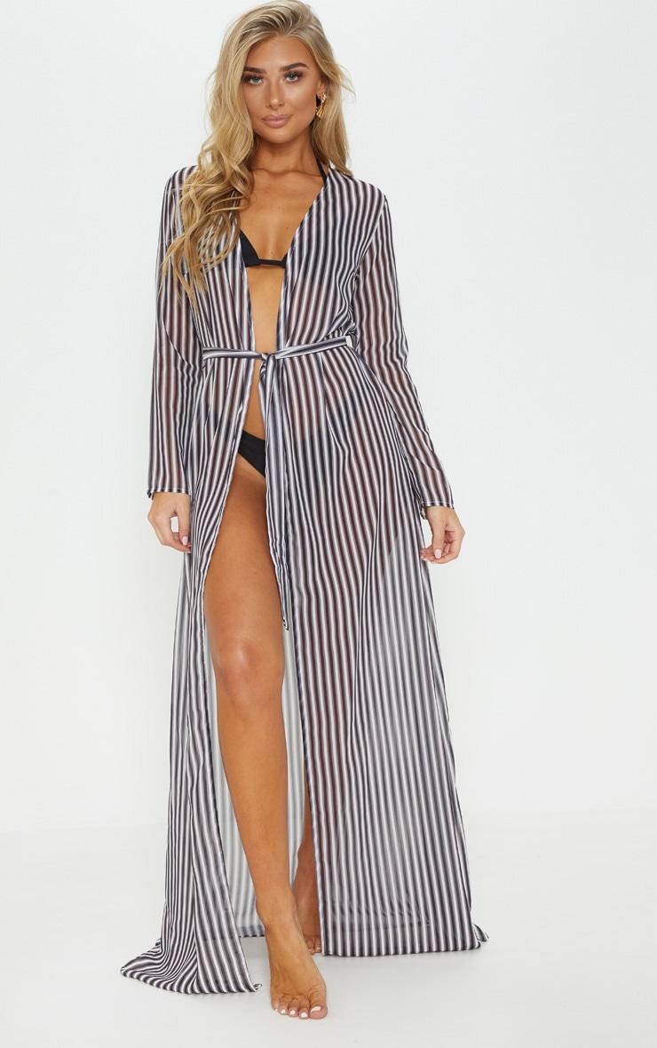 Black & White Stripe Beach Kimono 1
