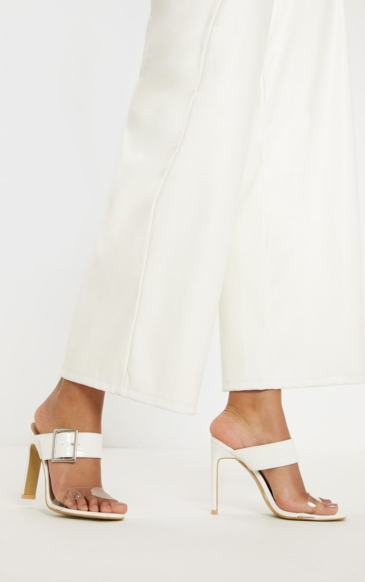 White Flat Heel Square Toe Buckle Strap Mule 2