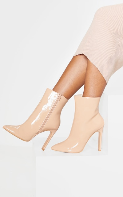 Nude Patent Wide Fit Flat Heel Point Ankle Boot