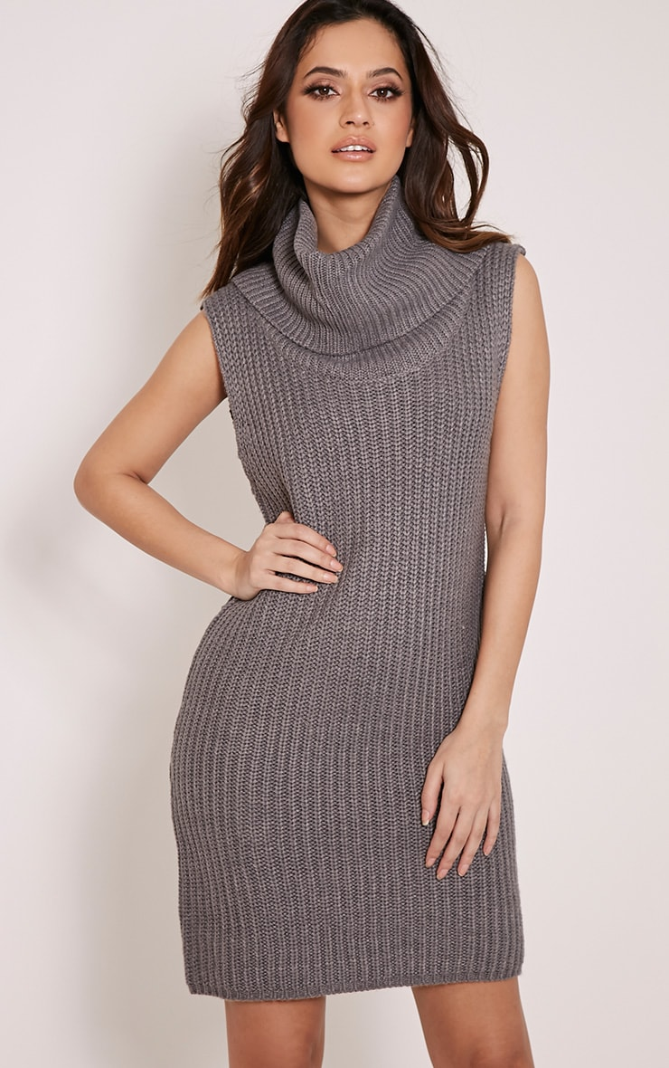 Kadence Grey Roll Neck Jumper Dress 1