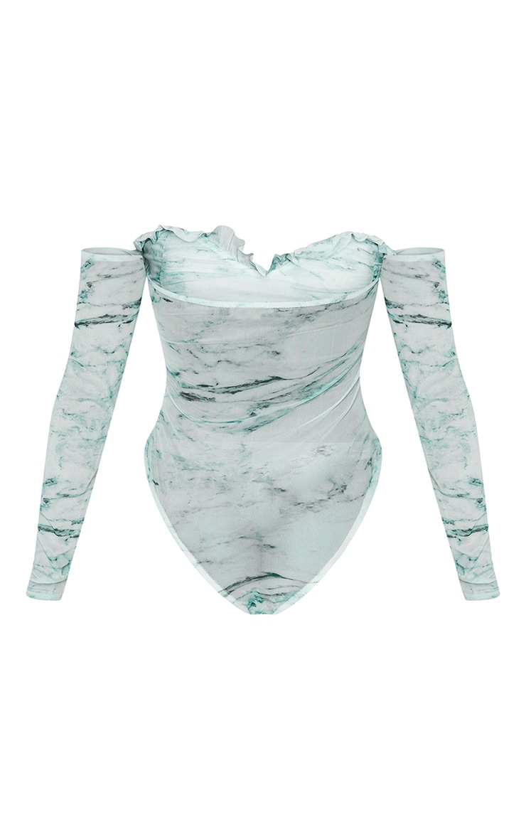 Green Marble Printed Mesh Ruched Bardot Bodysuit 4