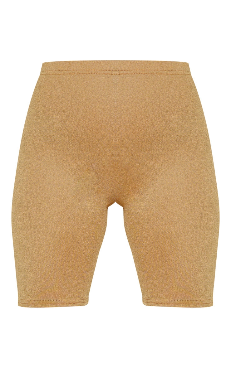 Petite Camel Stretch Crepe Cycling Shorts 3