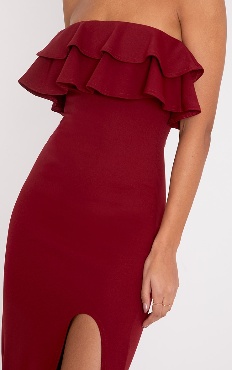 Angelique Burgundy Frill Bandeau Maxi Dress 5