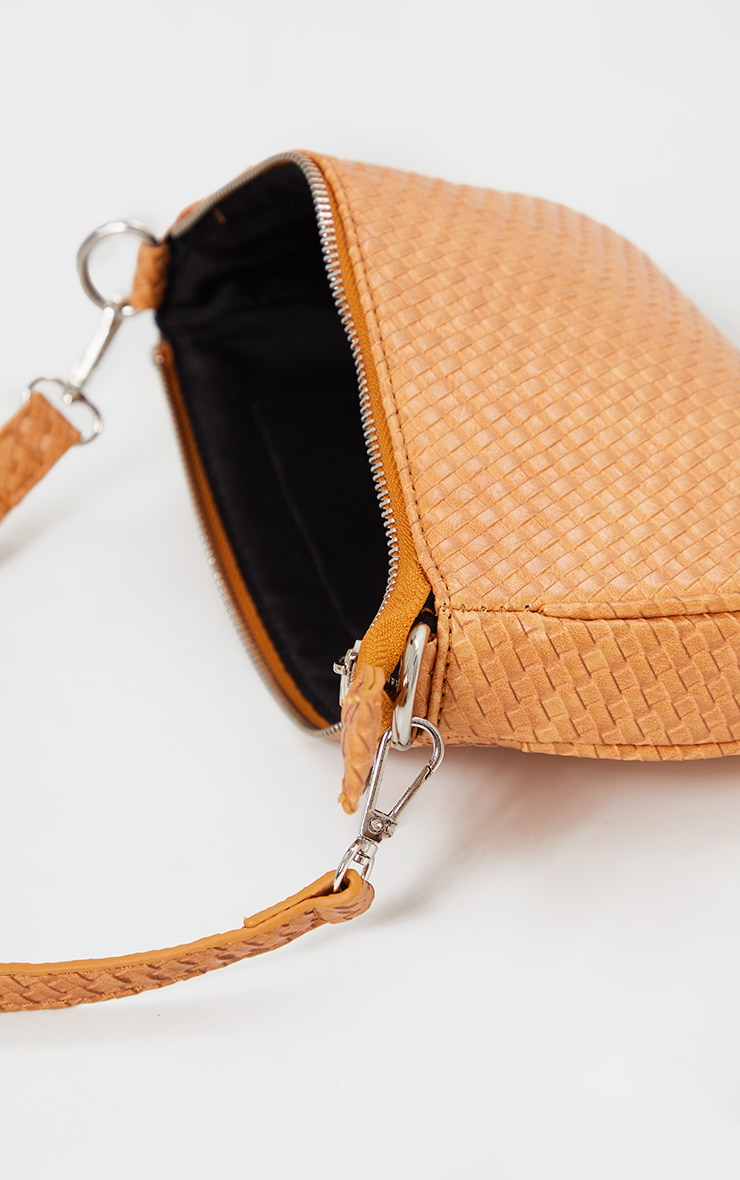 Tan Woven PU Shoulder Bag 4