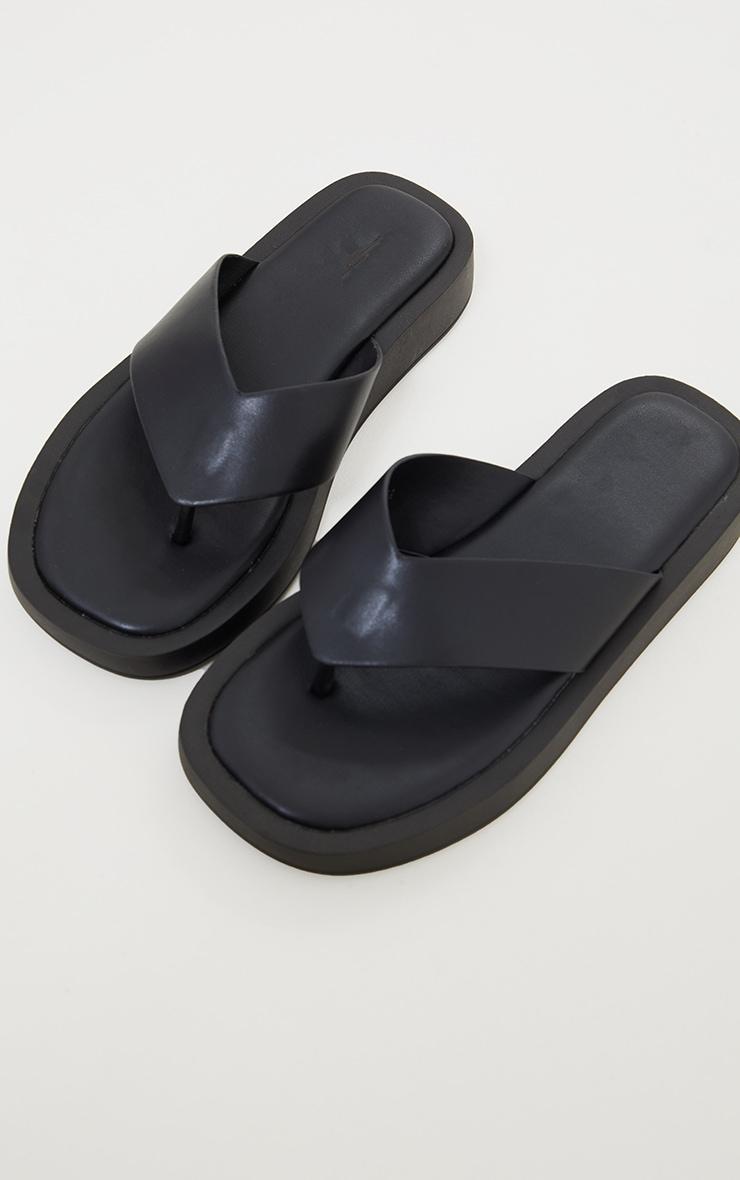 Black Chunky Sandal Toe Post Flip Flops 3
