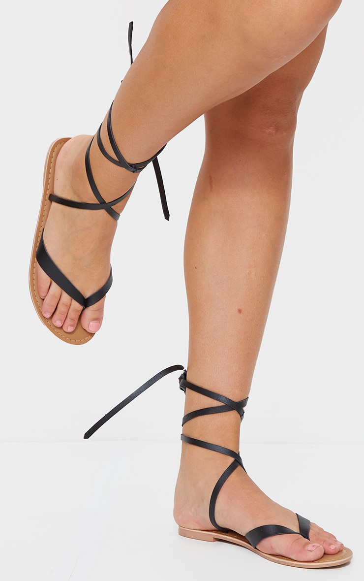 Black Toe Thong Ankle Tie Strappy Sandals 3
