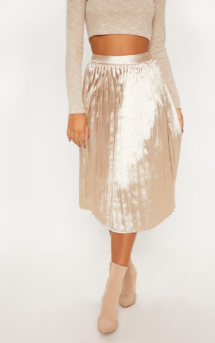 Champagne Satin Pleated Midi Skirt 2