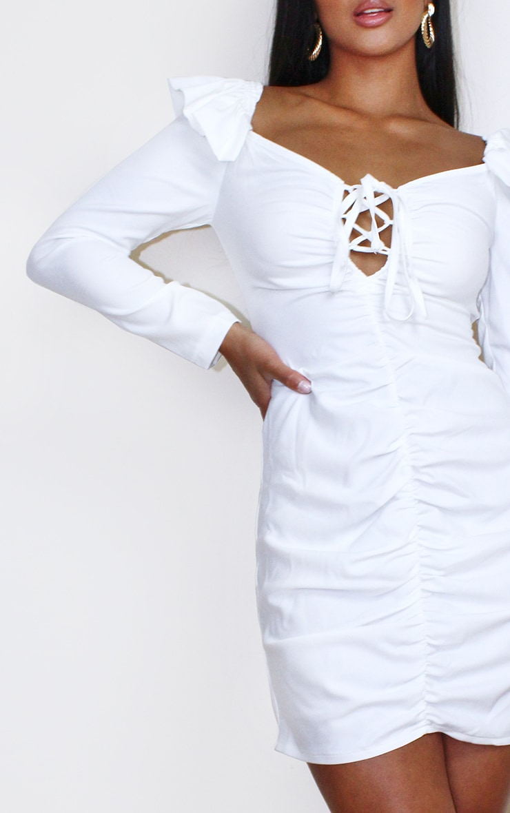 Petite Cream Ruched Shoulder Bodycon Dress 4