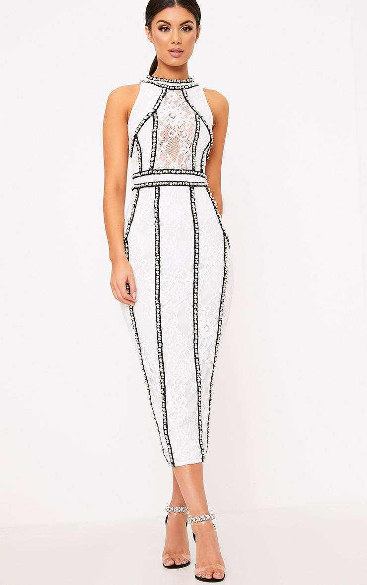 Francessia White Premium Embellished Midi Dress 5