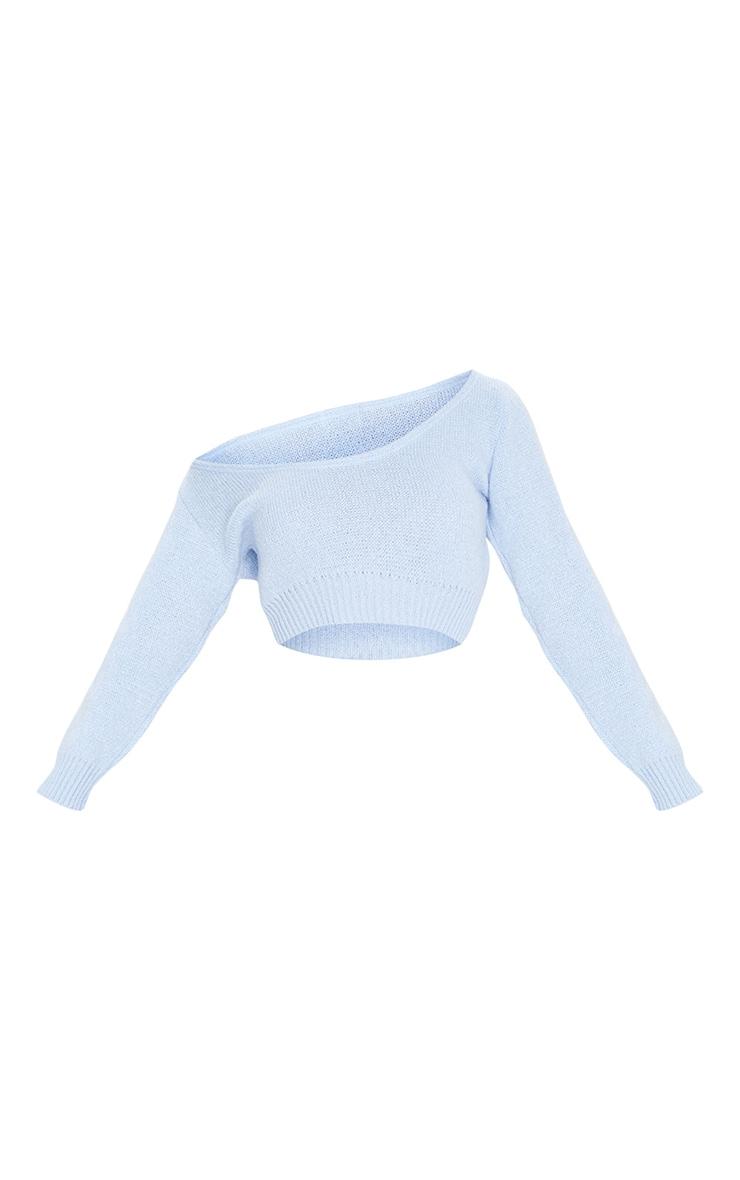 Blue V Neck Off Shoulder Soft Knitted Cropped Jumper 5