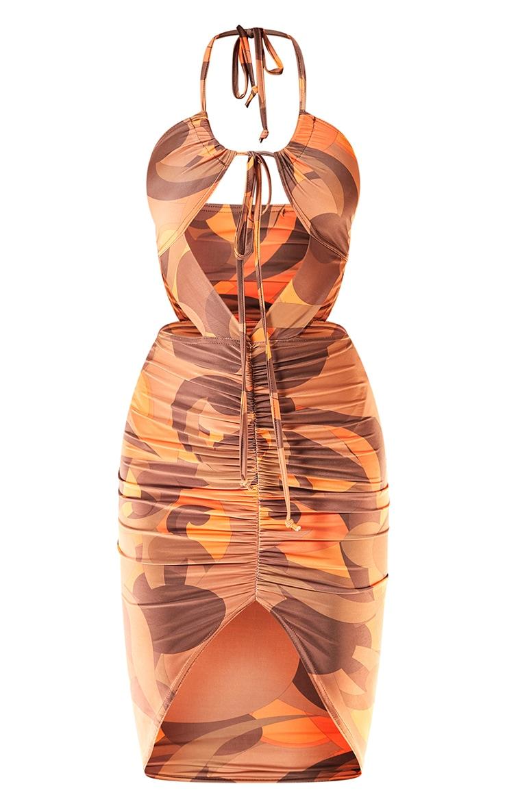 Orange Abstract Print Slinky Halterneck Cut Out Gathered Midi Dress 5