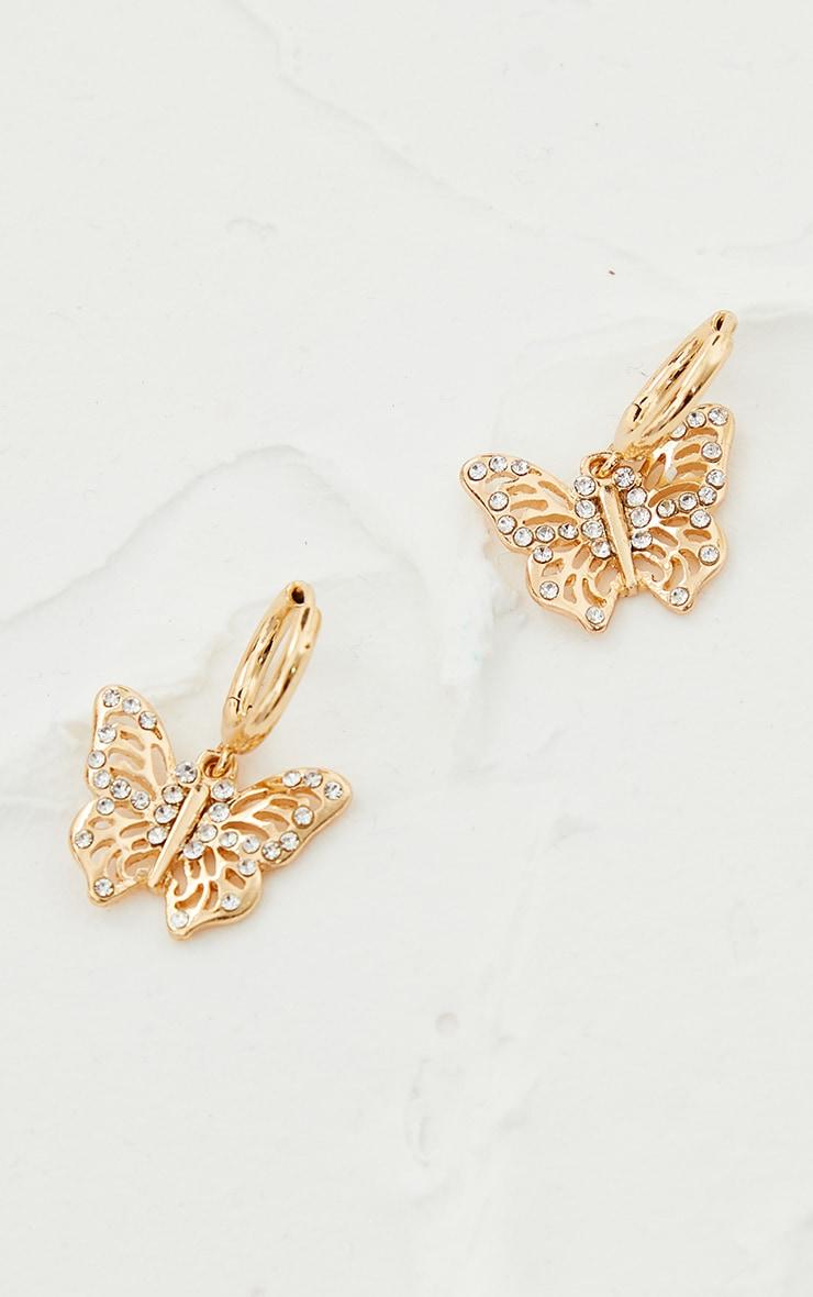 Gold Small Diamante Butterfly Hoop Earrings 3