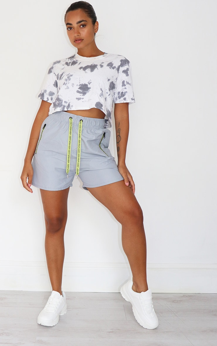 Petite Grey Tie Dye Cropped T Shirt 3