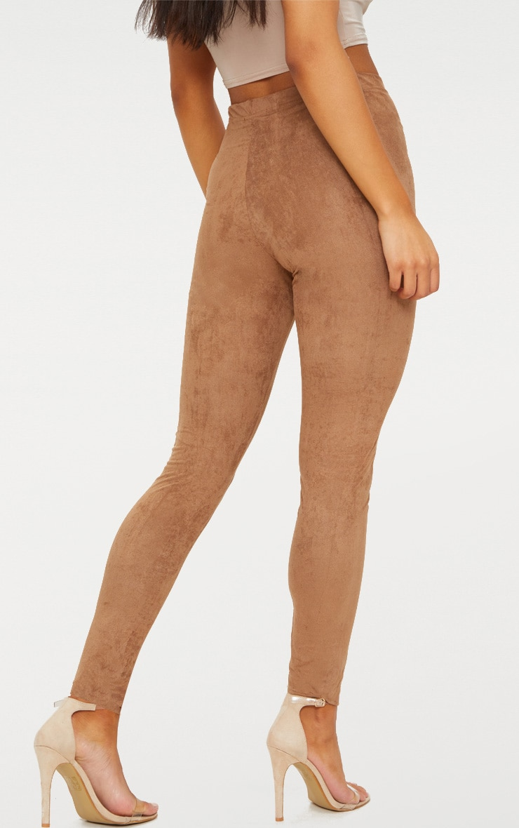 Taupe Faux Suede Skinny Trousers 4