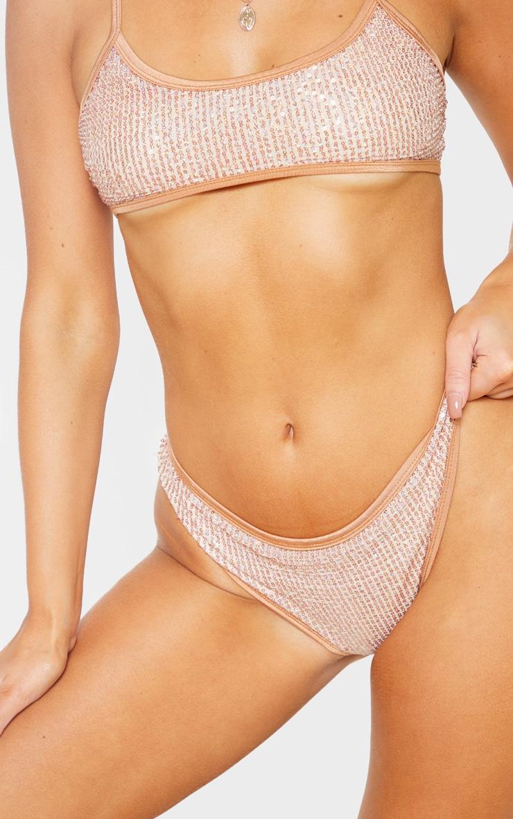 Rose Gold Sequin Bikini Bottom 6