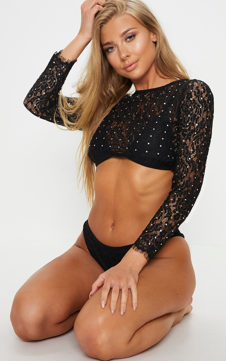 Premium Black 3 Piece Diamante Lace Long Sleeve Bikini Set 1