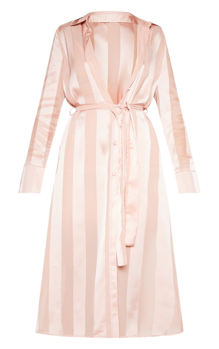 Champagne Satin Stripe Midi Shirt Dress 4
