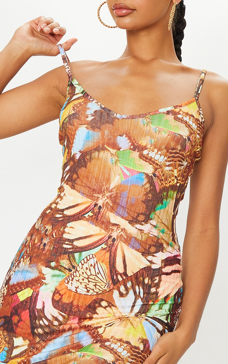 Multi Butterfly Print Ribbed Strappy Bodycon Dress 4