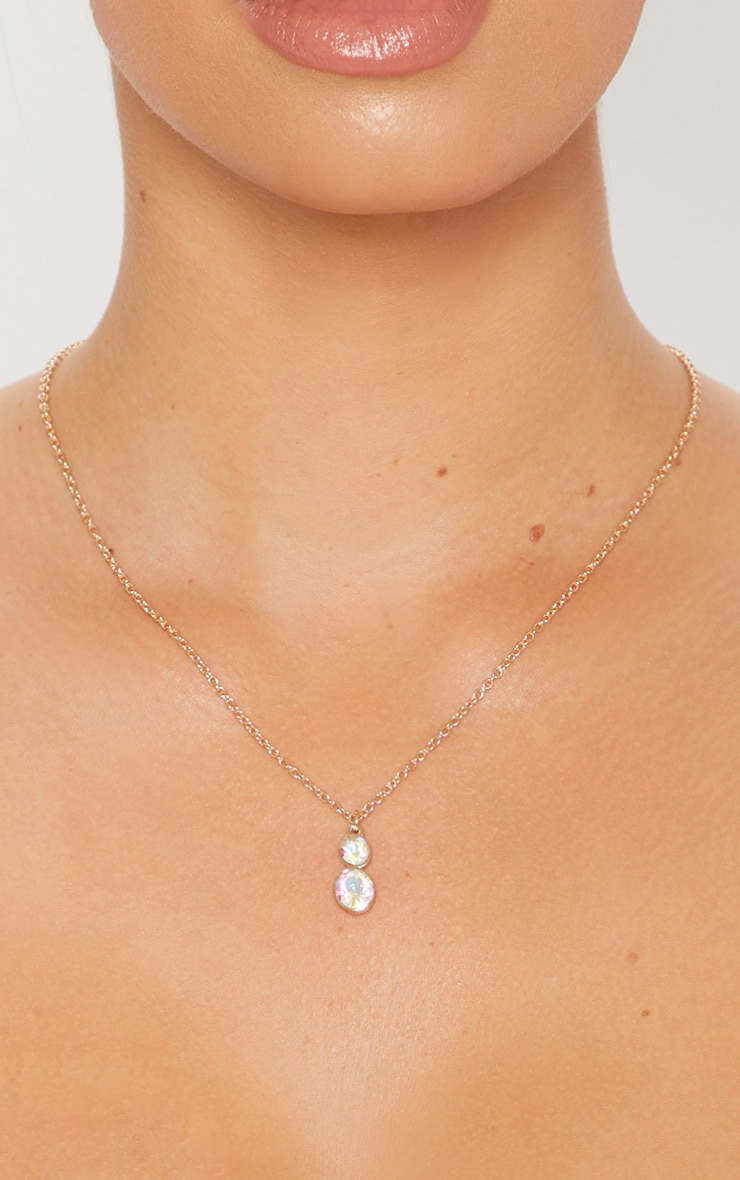 Gold Iridescent Diamante Necklace 1