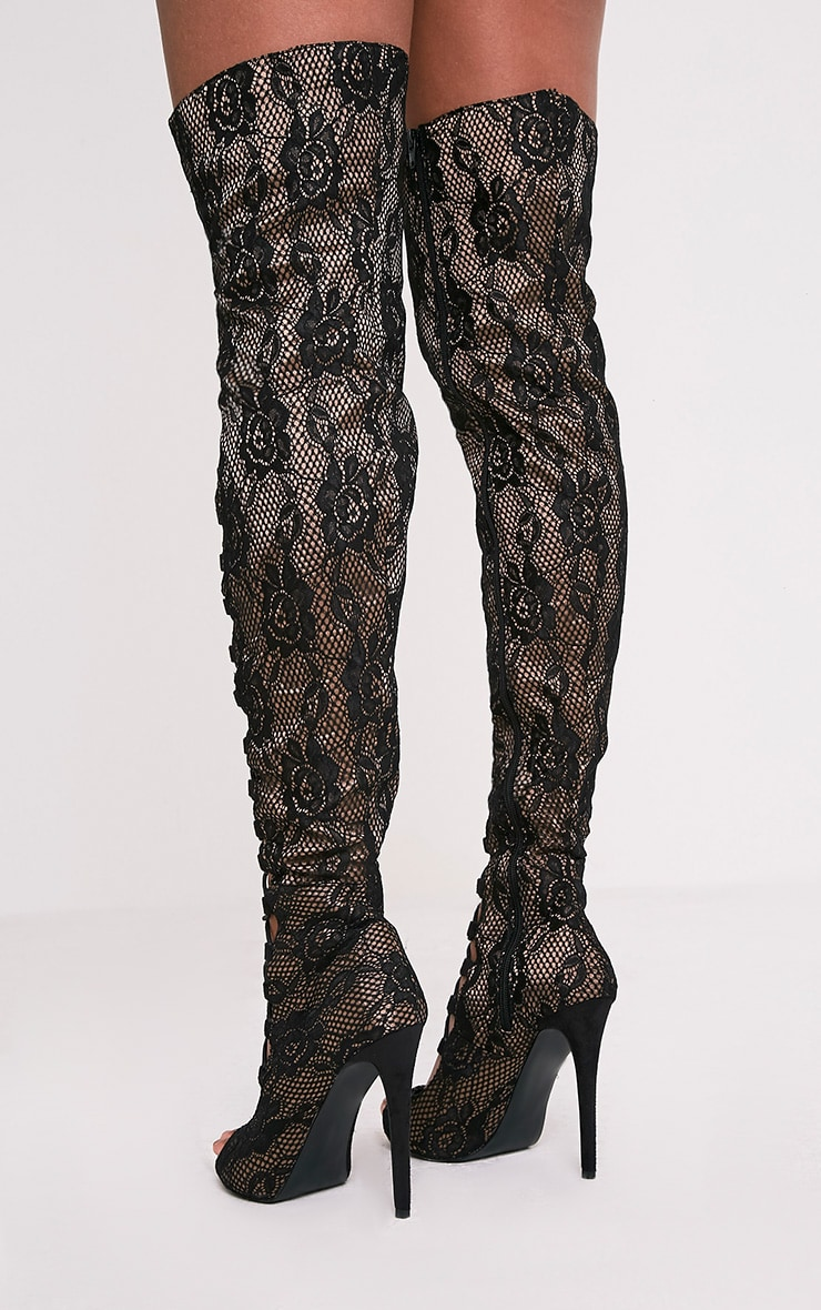 Safire Black Lace Up Thigh High Lace Heels 5