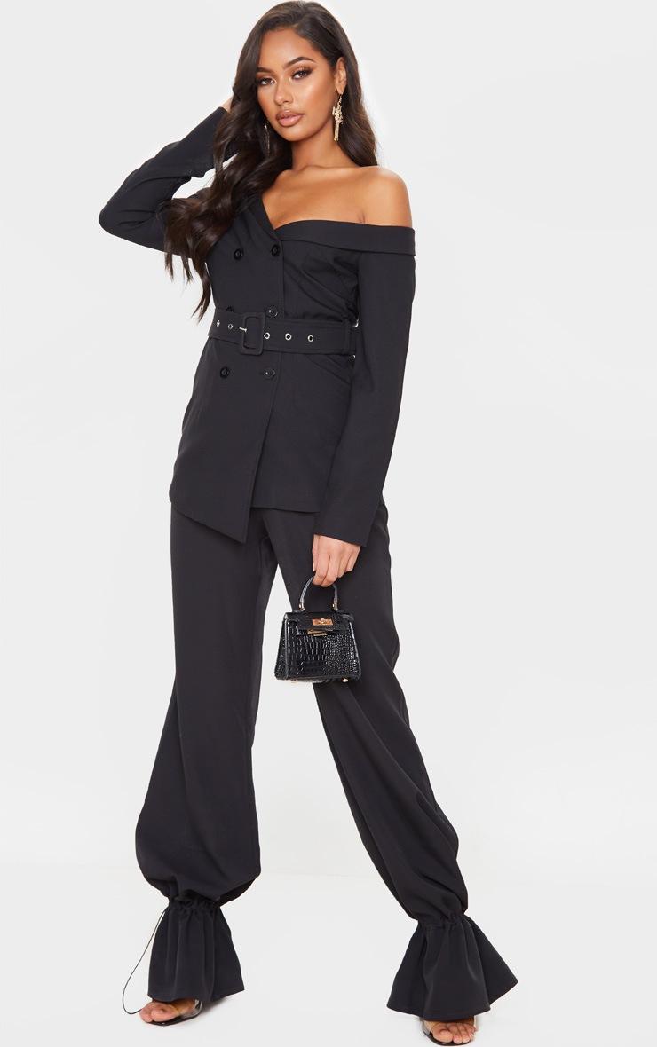 Black Woven One Shoulder Belted Blazer 4