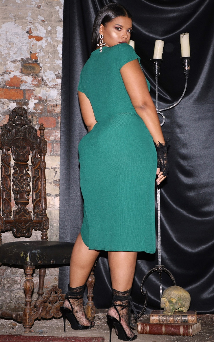 Plus Emerald Green Ribbed Extreme Split Cap Sleeve Midi Dress 2